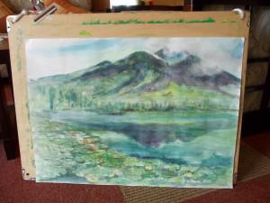 池にうつる妙高山